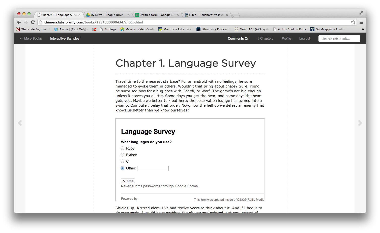 Embedding a survey inside your book on Chimera is a great way to gather early feedback.