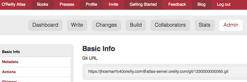 A screenshot of the Admin tab in Atlas showing the git URL