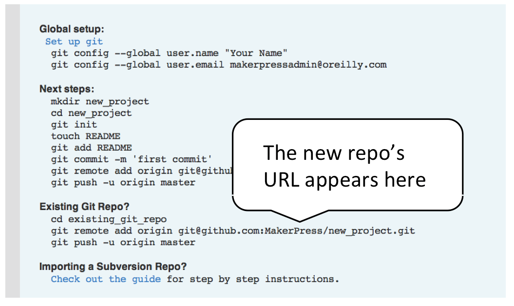A screenshot from GitHub showing where a user can find the project URL