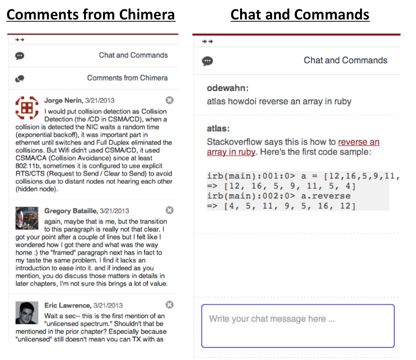 """Click on the right sidepanel in Atlas' writing tab to open the social sidebar. The figure on the left shows how comments come in from Chimera, while the one on the right shows the """"Chat and Command"""" tool."""