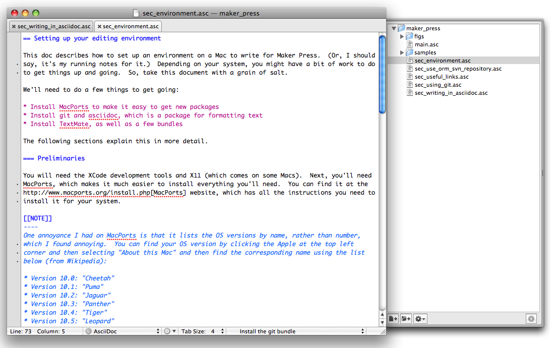 A screenshot of AsciiDoc text in TextMate with colored syntax highlighting