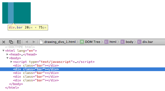 Five divs masquerading as one, as seen through the web inspector