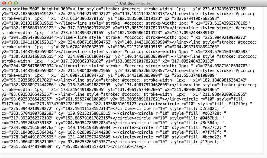 SVG code pasted into a new document
