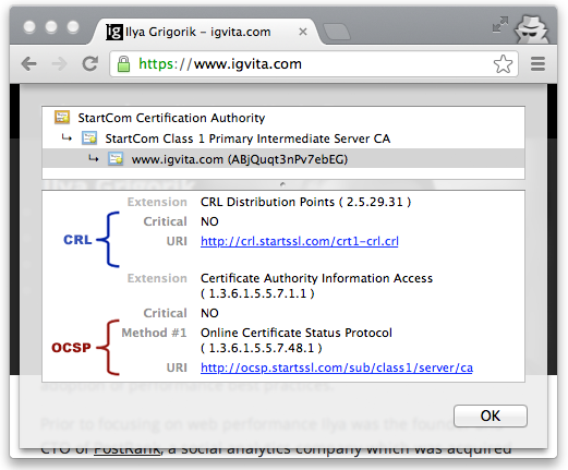 CRL and OCSP instructions for igvita.com (Google Chrome, v25)