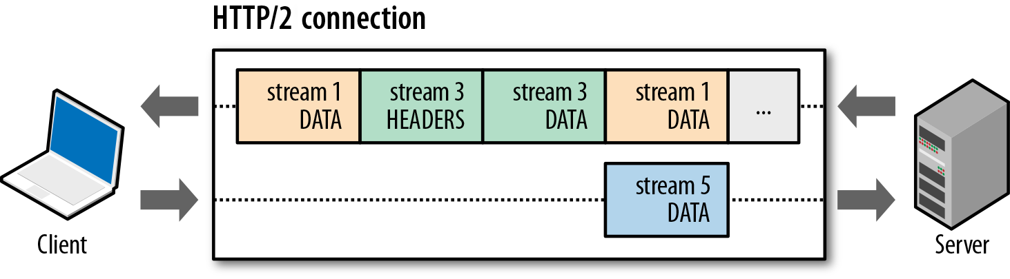 HTTP/2 request and response multiplexing within a shared connection