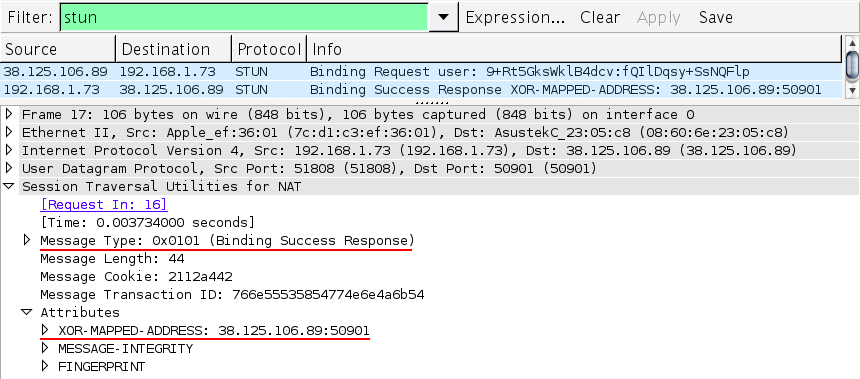 WireShark capture of a peer-to-peer STUN binding request and response