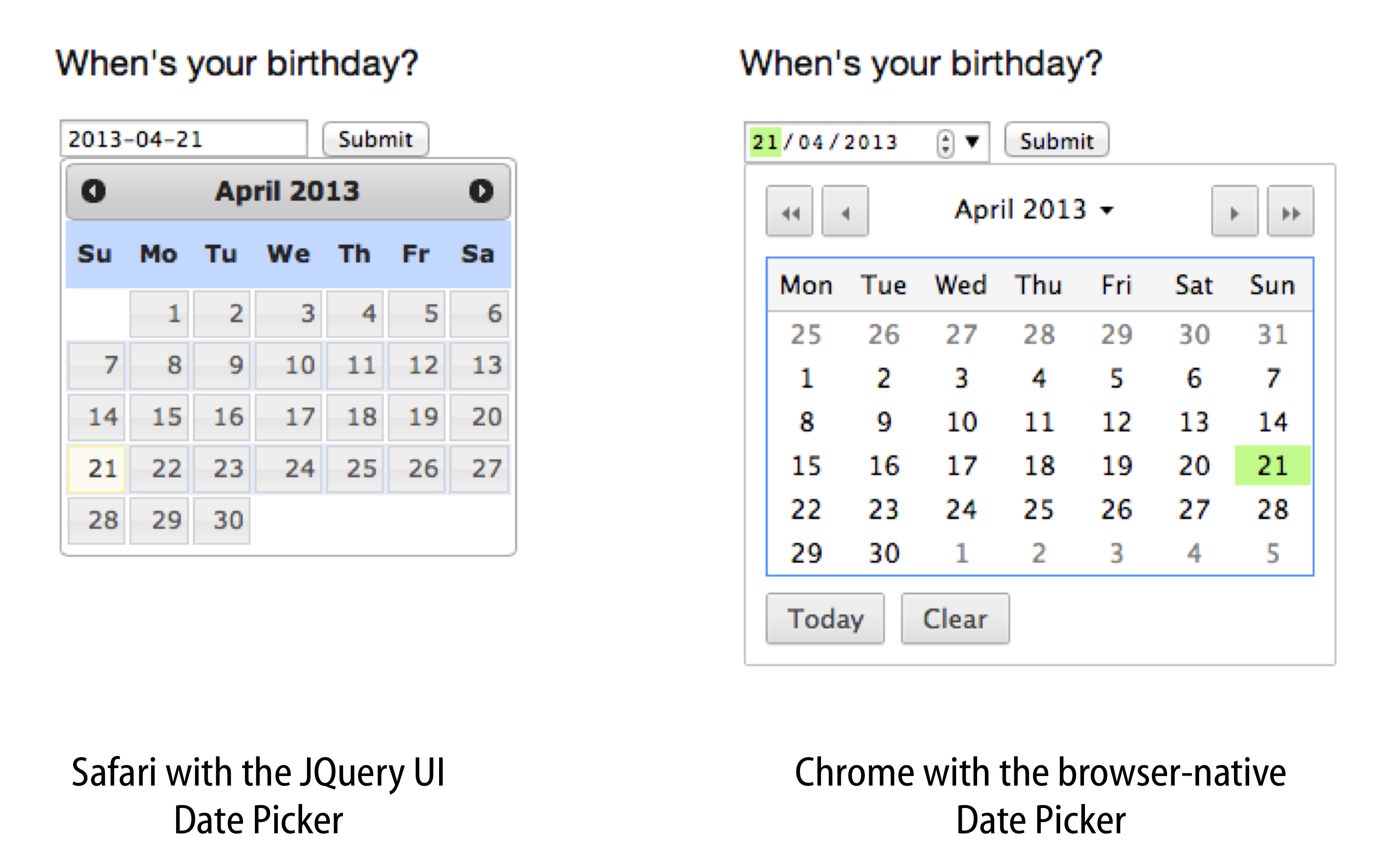 An input field with the jQuery UI date picker attached, compared to the browser-native date picker in Chrome