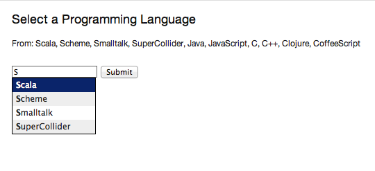 The rendering of the ProgrammingLanguages snippet