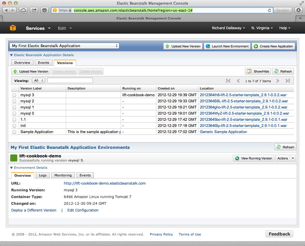 AWS console, with Elastic Beanstalk service selected