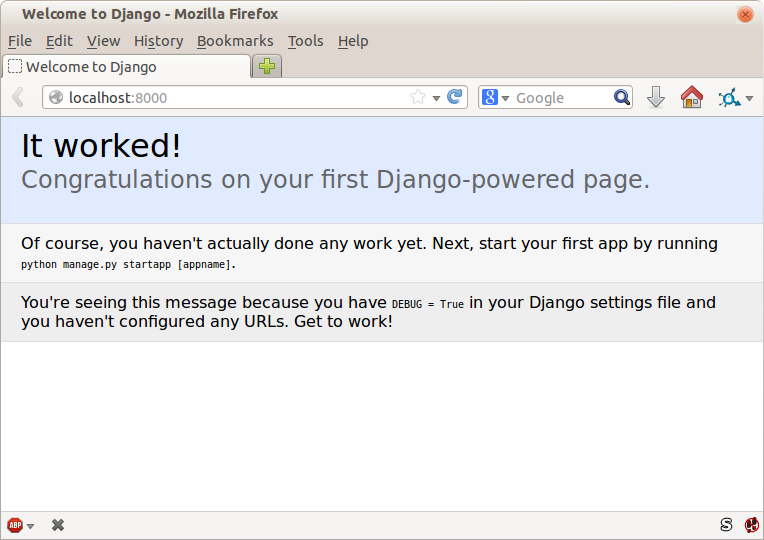 "Screenshot of Django ""It Worked"" screen"