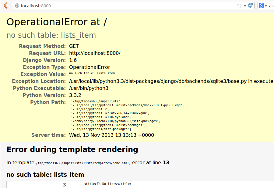 OperationalError at / no such table: lists_item