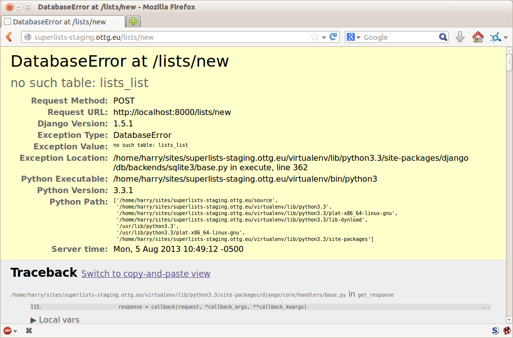 Django DEBUG page showing database error