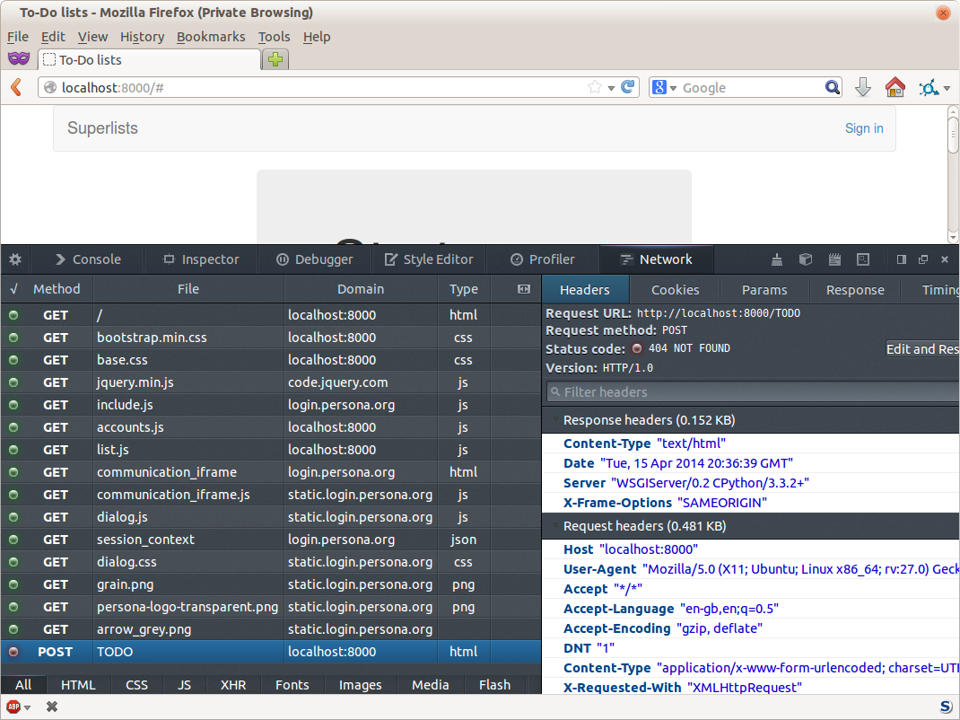 Shows the Firefox debug console open on the network tab