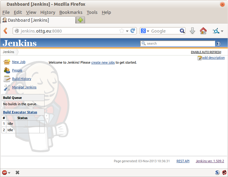 Jenkins' default welcome screen