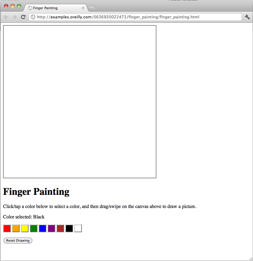 Finger painting interface in Google Chrome