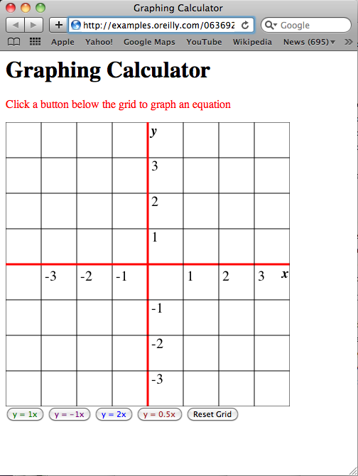 Graphing calculator interface in Safari for Mac