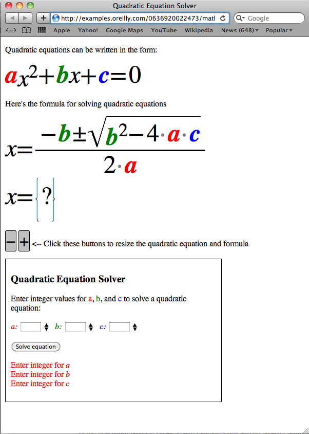 Equation solver in Safari for Mac