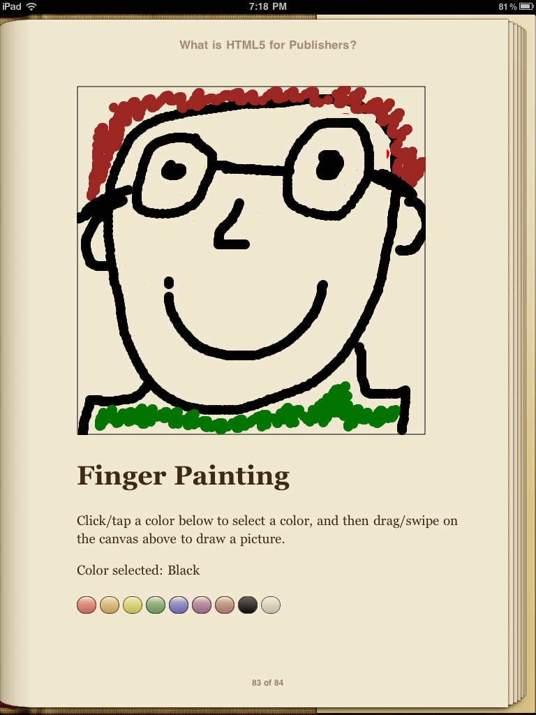 Author self-portrait in Finger Painting app in iBooks