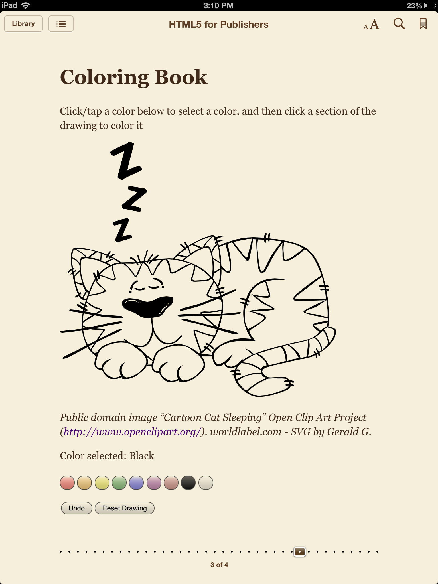 Coloring book html5 - Svg coloring book page in ibooks for ipad