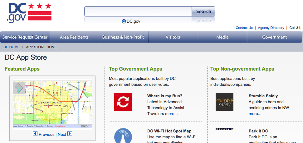 Apps.DC.gov home page