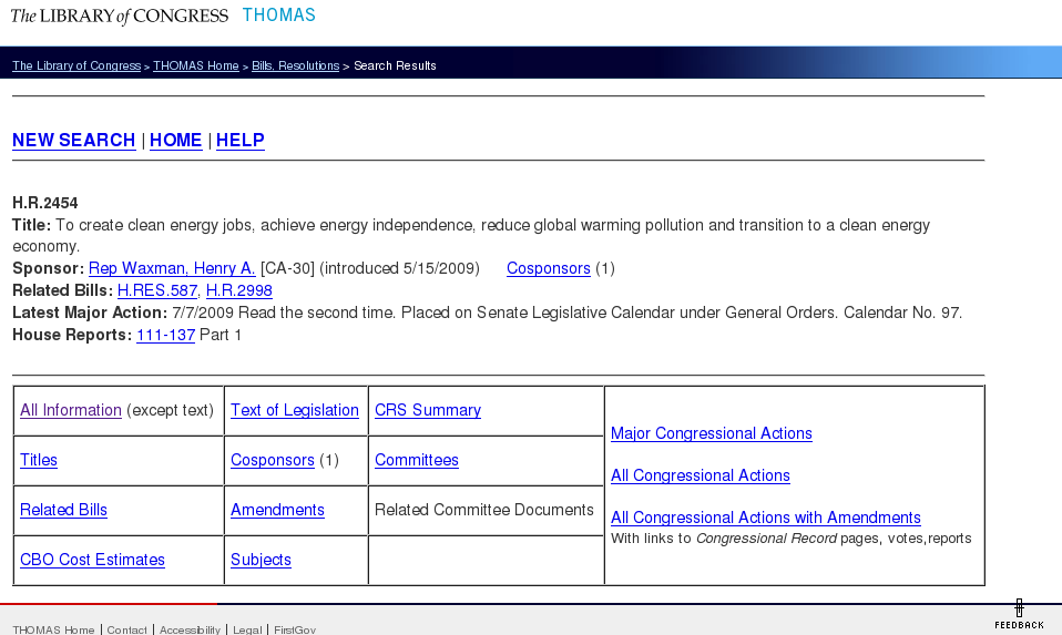 THOMAS.gov, the Library of Congress's legislative tracking website