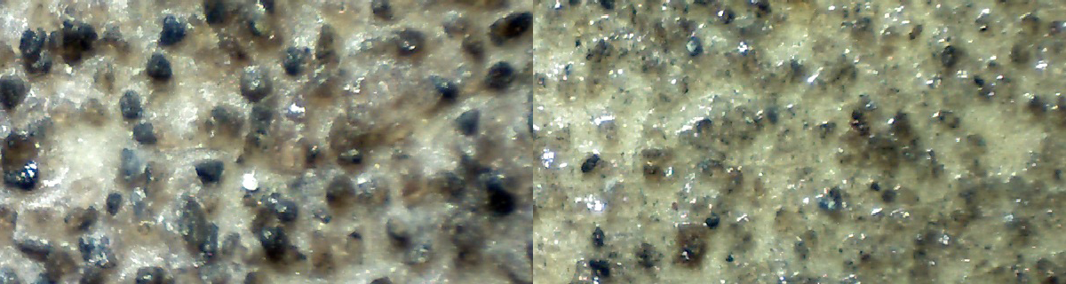 3M aluminum oxide sandpaper, grits 60 and 100, at 10x magnification.