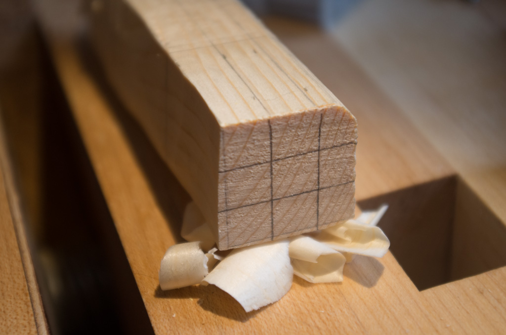 Measurements carried around the edge of the wood onto the end grain.