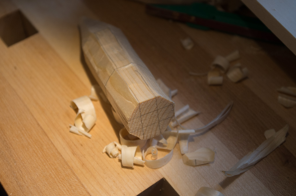 Tip cat blank whittled to an octagonal profile.