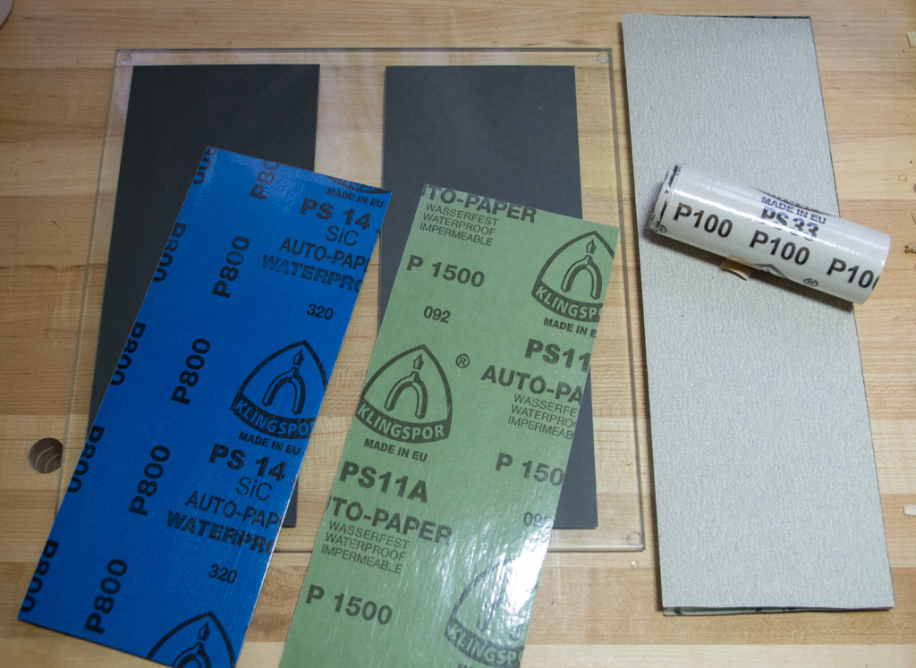 Rockler tempered glass, and GarrettWade float glass as a base for sandpaper.
