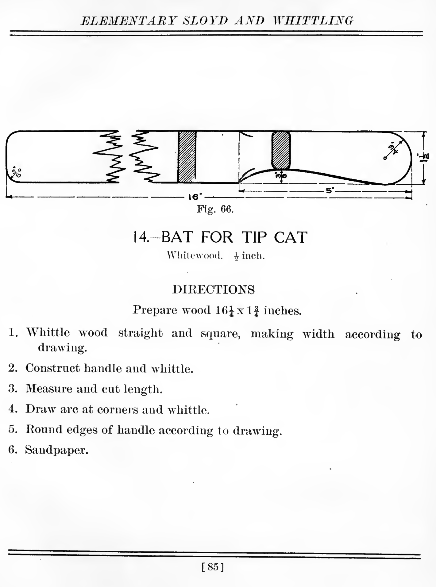 The bat for hitting the tip cat.