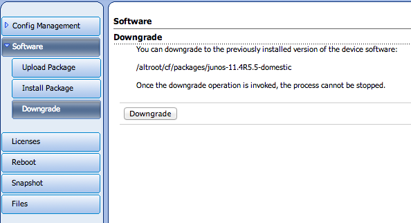 Software downgrades