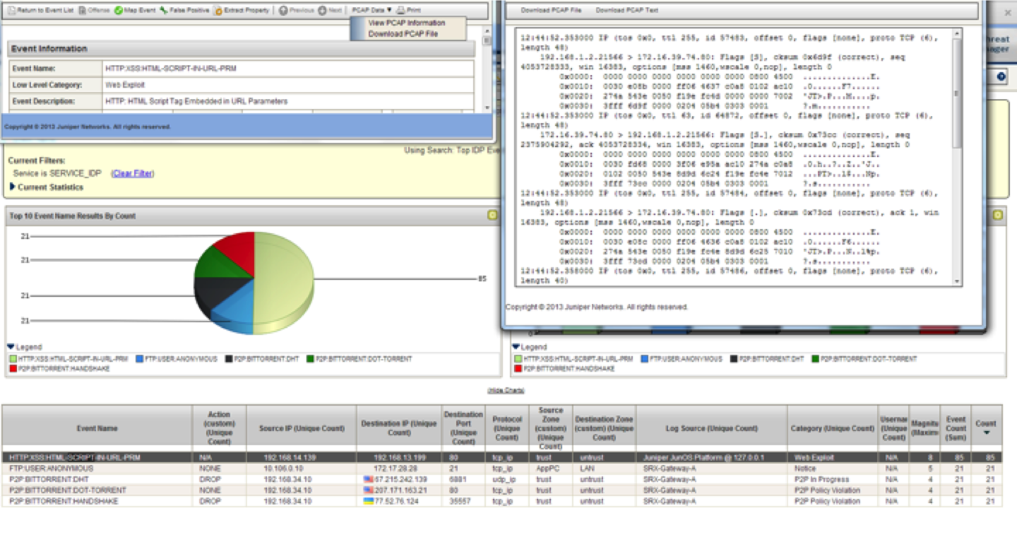 Viewing IPS PCAP data in the STRM