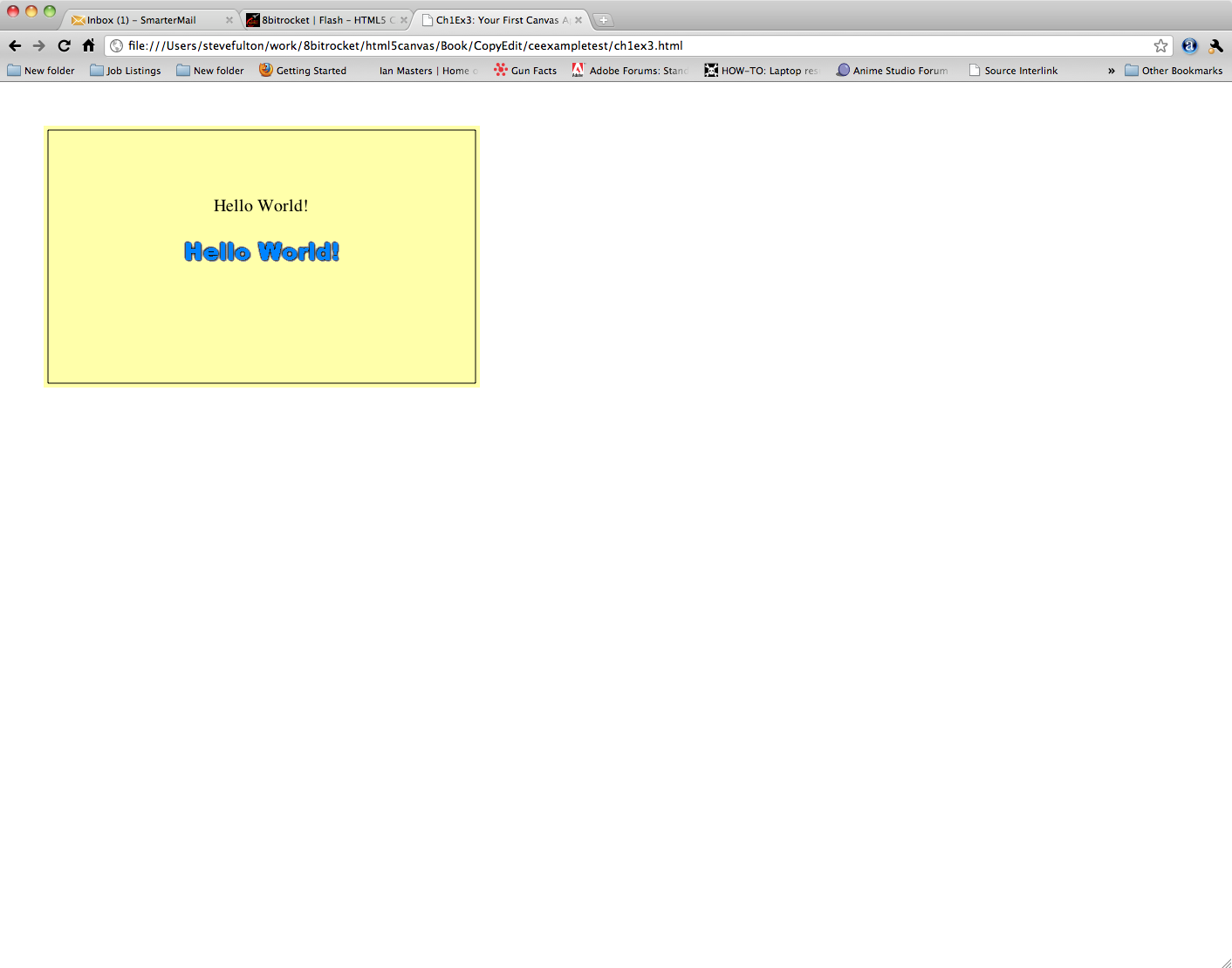 HTML5 Canvas Hello World!