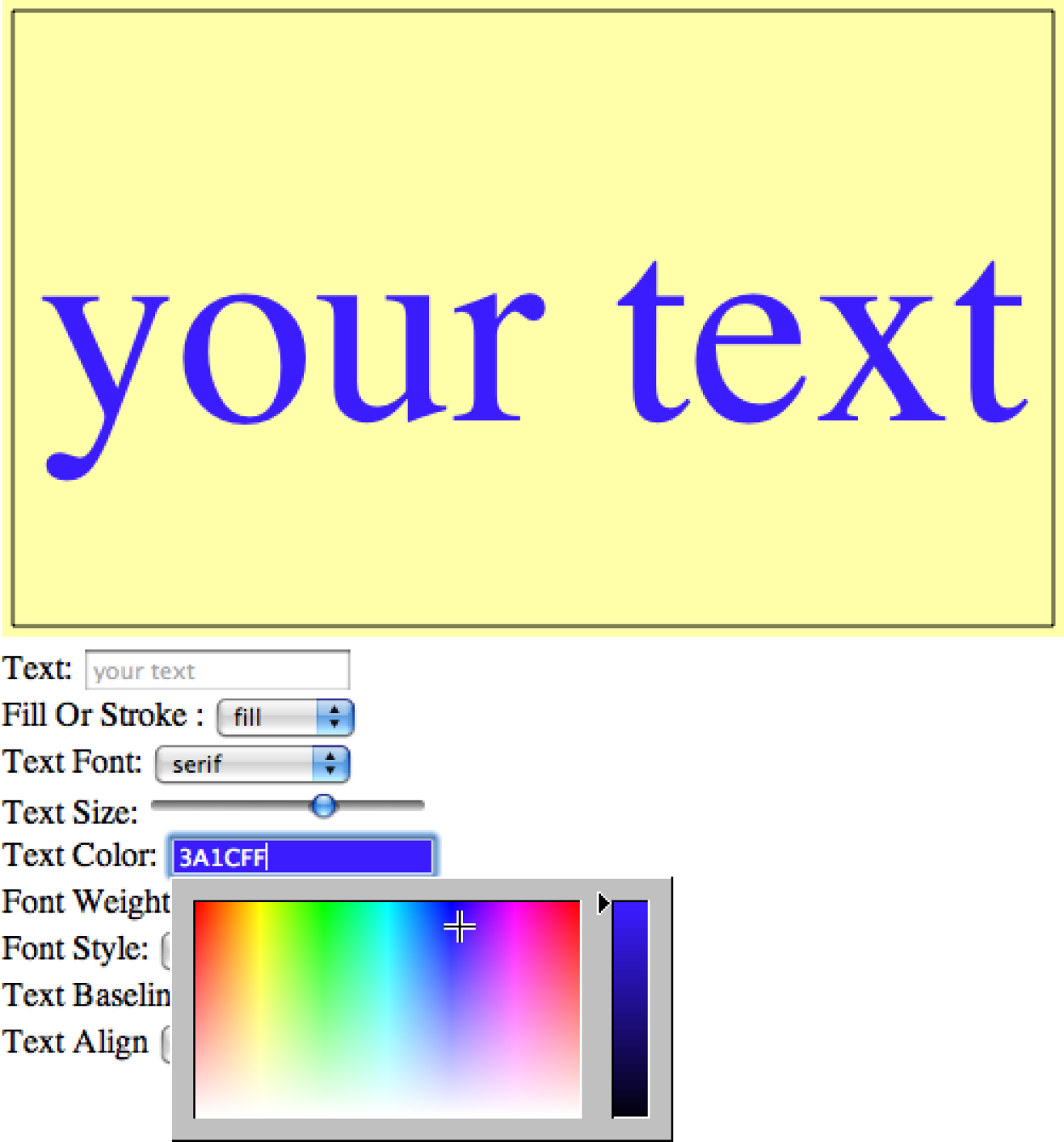 Setting the font color