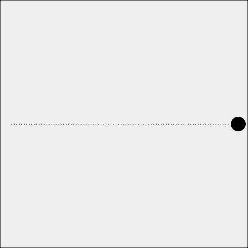 A ball moving from one point to another along the line, with the points drawn for illustration