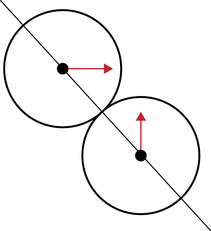 Two balls colliding at different angles with a line of action drawn between them