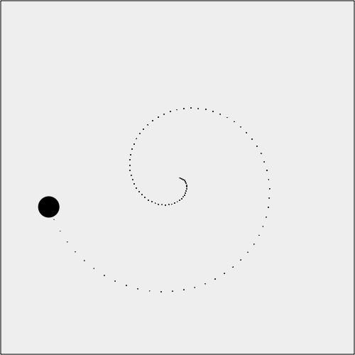 Moving an object in a simple spiral pattern