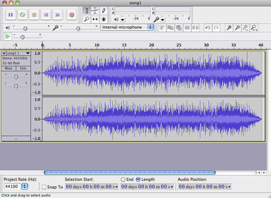 Editing an audio file in Audacity