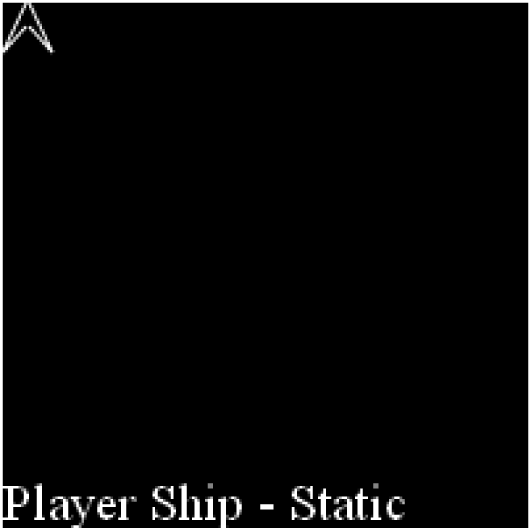 The player ship on the canvas