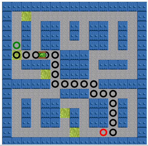 A* tank moving through path with no diagonal nodes