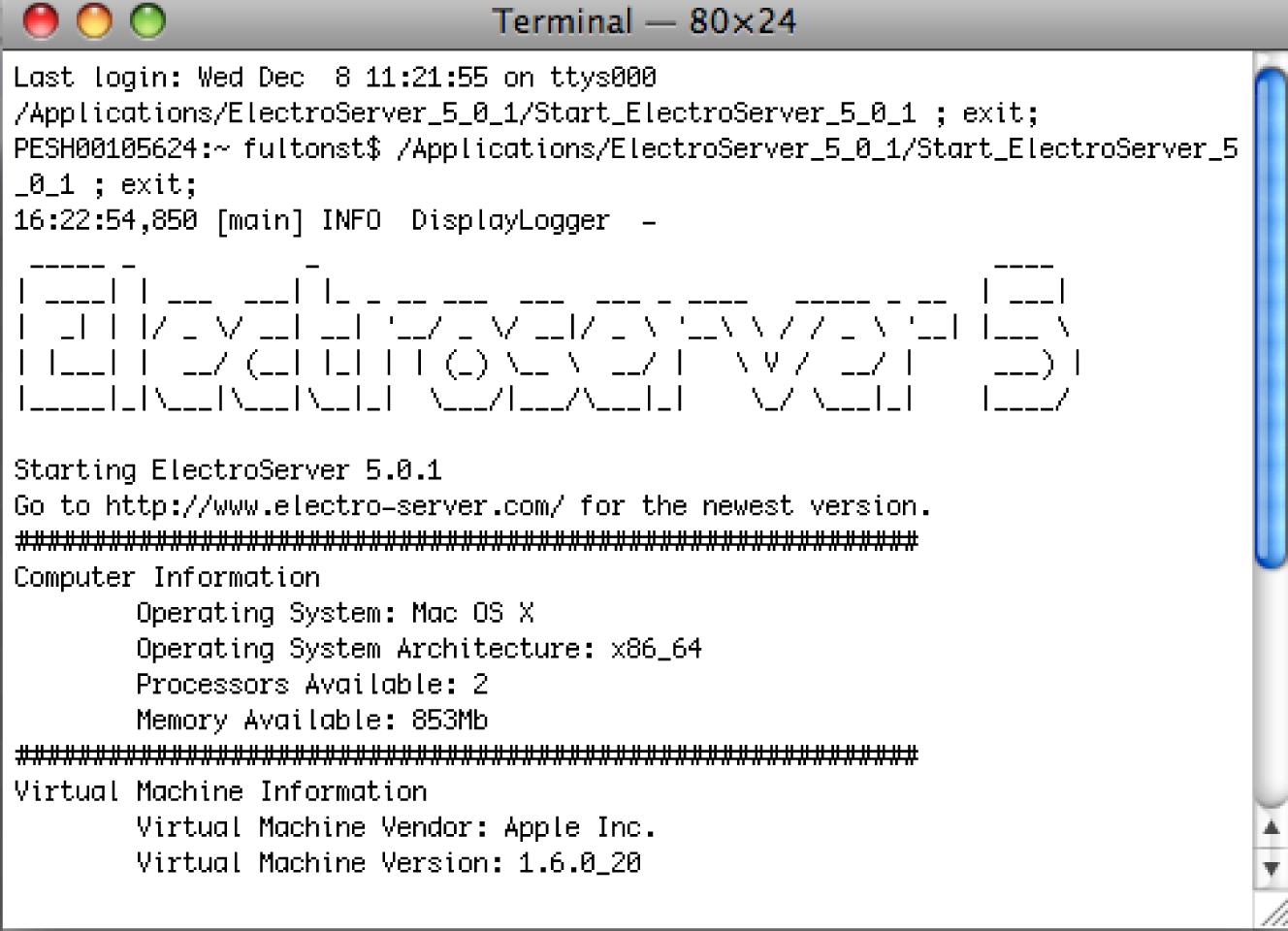 ElectroServer started