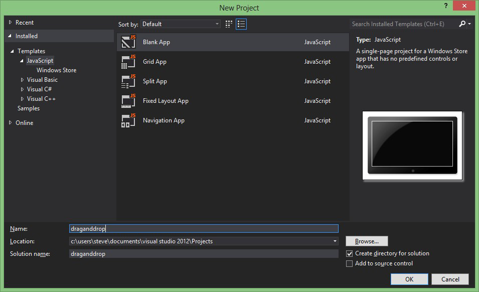 Creating a new JavaScript project in Visual Studio 2012