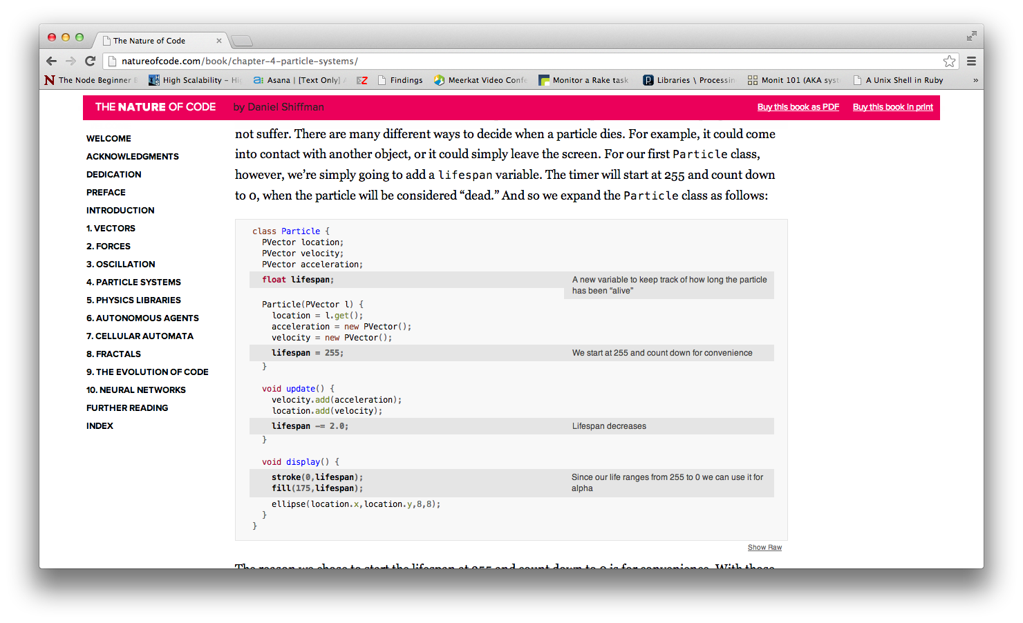 Source code comments formatted using docco