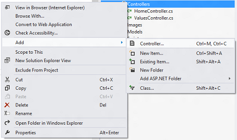 Visual Studio context menu for adding a new controller