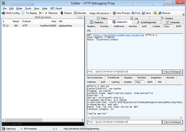 Examining HTTP requests and responses using Fiddler