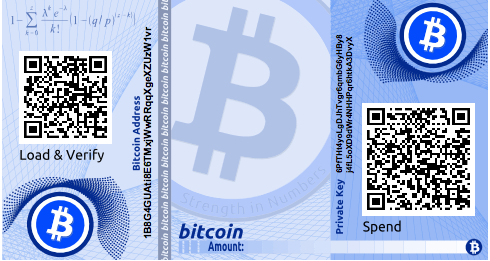 "An example of an encrypted paper wallet from bitaddress.org. The passphrase is ""test."""