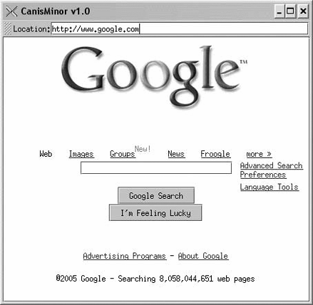 The CanisMinor application, a simple web browser