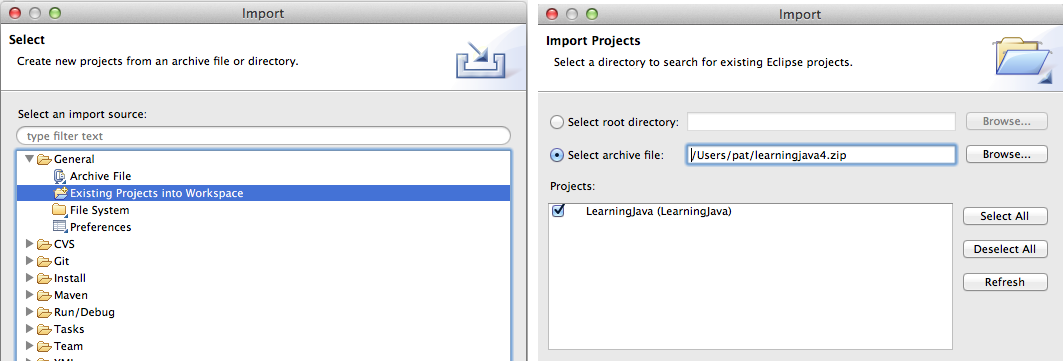 The import projects dialog box