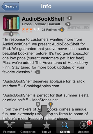 App Store listing on the iPhone for AudioBookShelf