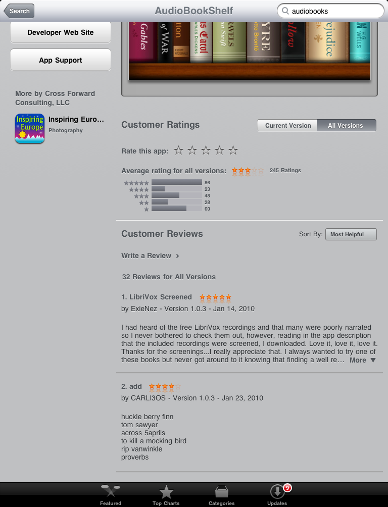 The Customer Ratings and Customer Reviews areas for an App Store listing on the iPad
